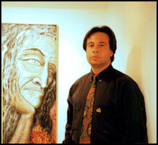 Alexander Kanevsky at the International Debut of his Art in Barcelona in 1996 in front of the Cybelle