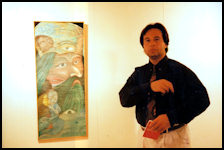 Alexander Kanevsky at the International Debut of his Art in Barcelona in 1996 in front of the Waterworld